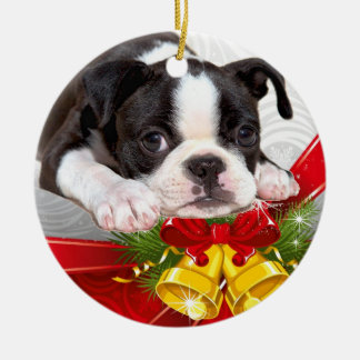 Boston Terrier Christmas Hanging Ornament
