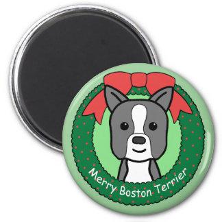 Boston Terrier Christmas Magnet