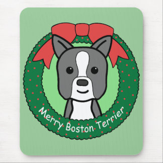 Boston Terrier Christmas Mouse Pad