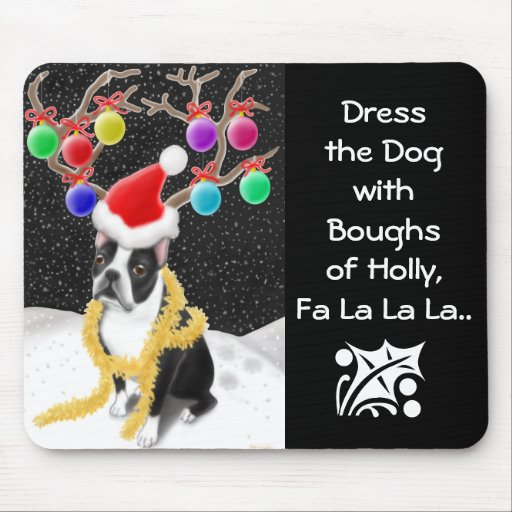 Boston Terrier Christmas Mousepad