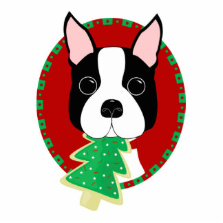 Boston Terrier Christmas Ornament Acrylic Cut Outs