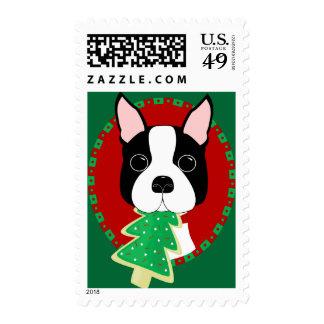 Boston Terrier Christmas Postage
