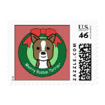 Boston Terrier Christmas Postage Stamps