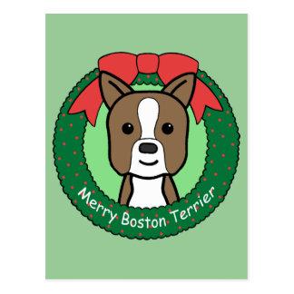 Boston Terrier Christmas Postcard