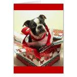 Boston Terrier Christmas Present Card