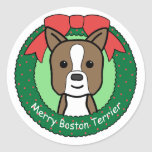 Boston Terrier Christmas Round Sticker