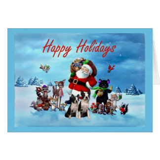 Boston Terrier Christmas Santa and Animals Greetin Cards