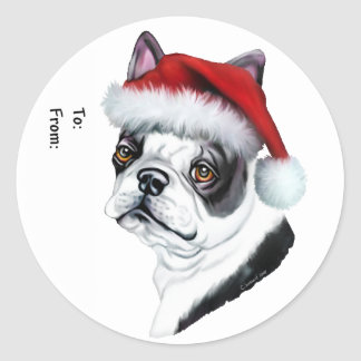 Boston Terrier Christmas Santa Gift Tags Round Stickers