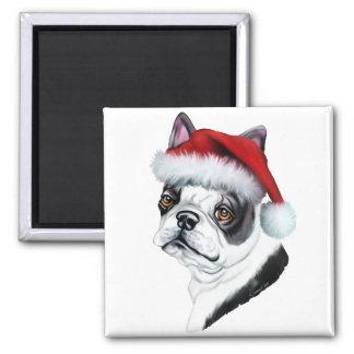 Boston Terrier Christmas Santa Magnet