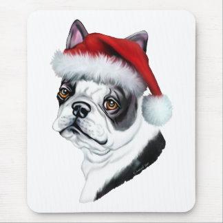 Boston Terrier Christmas Santa Mouse Pad