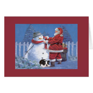 Boston Terrier Christmas Snowman and Santa Greetin Card