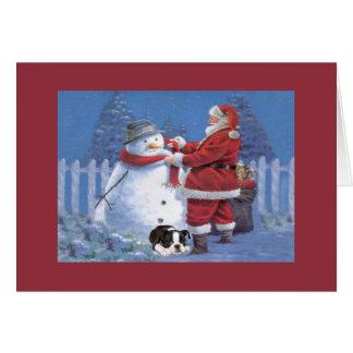 Boston Terrier Christmas Snowman and Santa Greetin Greeting Card