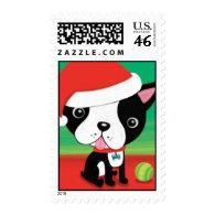 boston Terrier Christmas Stamp