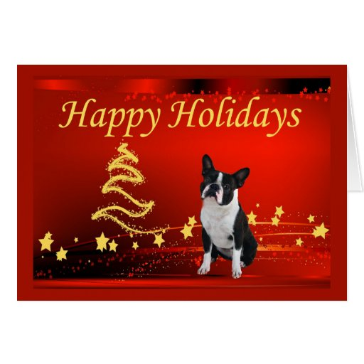 Boston Terrier Christmas Stars Greeting Card