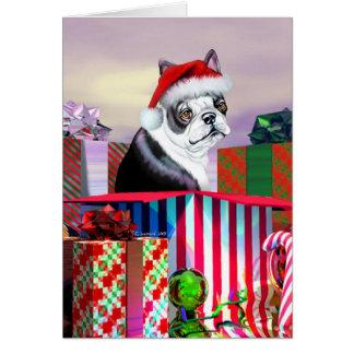 Boston Terrier Christmas Surprise Greeting Card