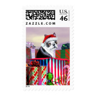 Boston Terrier Christmas Surprise Postage Stamps