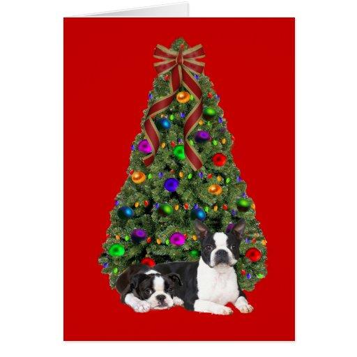 Boston Terrier Christmas Tree Card