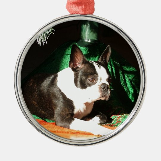 Boston Terrier Christmas with Piper Metal Ornament