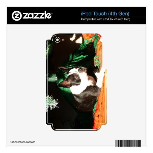 Boston Terrier Christmas with Piper Decals For iPod Touch 4G