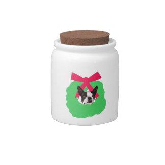 Boston Terrier Christmas Wreath Candy Jar