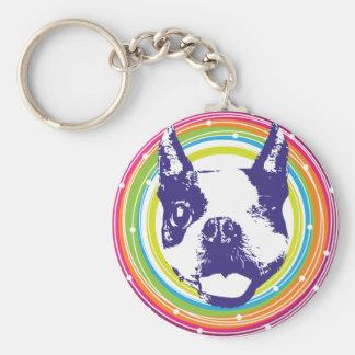 Boston Terrier - círculos coloridos Llavero