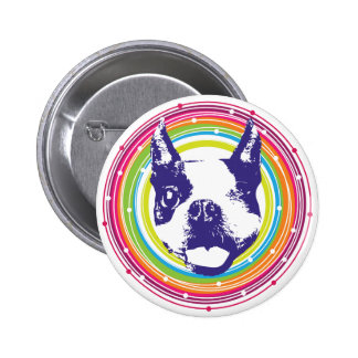 Boston Terrier - Colorful Circles Pinback Buttons