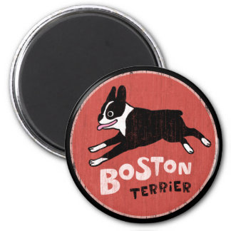 Boston Terrier Cool Retro Style 2 Inch Round Magnet
