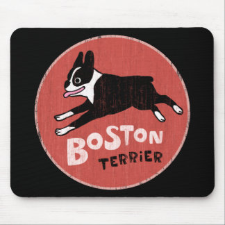 Boston Terrier Cool Retro Style Mouse Pad