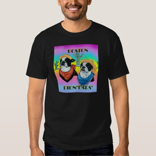 Boston Terrier Cowboy duo Tee Shirts
