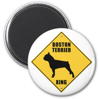 Boston Terrier Crossing (XING) Sign 2 Inch Round Magnet