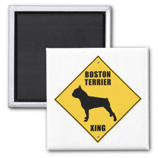 Boston Terrier Crossing (XING) Sign 2 Inch Square Magnet