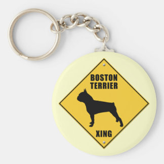 Boston Terrier Crossing (XING) Sign Basic Round Button Keychain