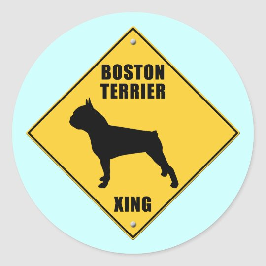 Boston Terrier Crossing (XING) Sign Classic Round Sticker