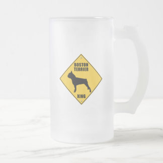 Boston Terrier Crossing (XING) Sign Frosted Glass Beer Mug