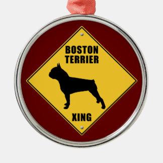 Boston Terrier Crossing (XING) Sign Metal Ornament