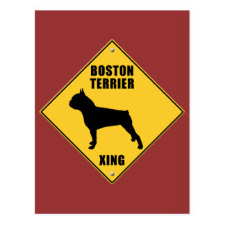 Boston Terrier Crossing (XING) Sign Postcard