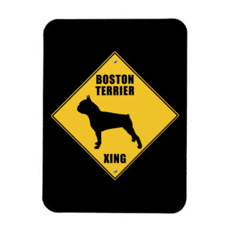 Boston Terrier Crossing (XING) Sign Rectangular Photo Magnet