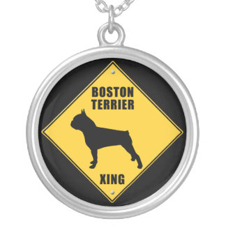 Boston Terrier Crossing (XING) Sign Round Pendant Necklace