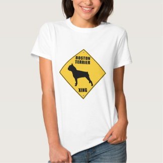Boston Terrier Crossing (XING) Sign Tee Shirt
