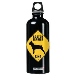 Boston Terrier Crossing (XING) Sign Water Bottle