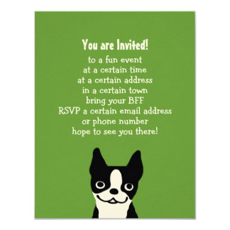 Boston Terrier - Cute Dog with Custom Text 4.25x5.5 Paper Invitation Card