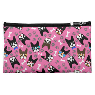 Boston Terrier Cute Mustache Funny Faces Cosmetic Bags
