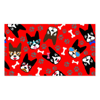 Boston Terrier Cute Mustache Funny Faces Business Card