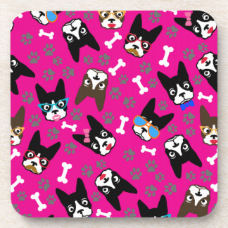 Boston Terrier Cute Mustache Funny Faces Drink Coaster