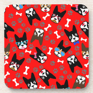 Boston Terrier Cute Mustache Funny Faces Beverage Coasters