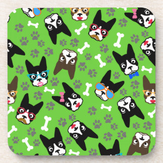 Boston Terrier Cute Mustache Funny Faces Drink Coasters