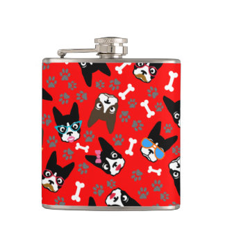 Boston Terrier Cute Mustache Funny Faces Flask