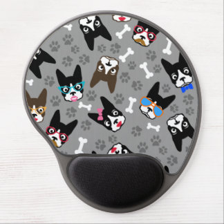 Boston Terrier Cute Mustache Funny Faces Gel Mouse Pad