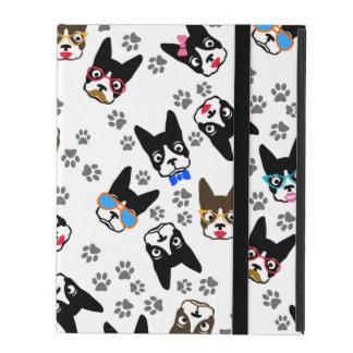 Boston Terrier Cute Mustache Funny Faces iPad Folio Cases