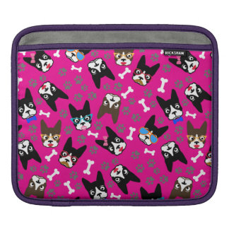 Boston Terrier Cute Mustache Funny Faces Sleeves For iPads